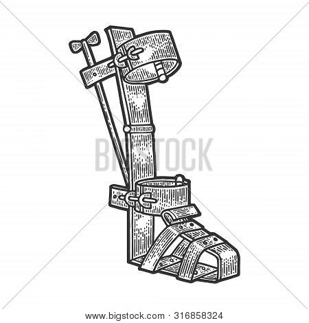 Spanish Boot Medieval Torture Device Sketch Engraving Vector Illustration. Scratch Board Style Imita