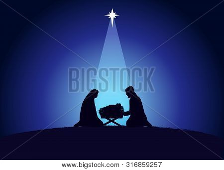 Christmas Scene Of Baby Jesus In The Manger With Mary And Joseph In Silhouette, Surrounded By Star.