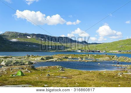 Beautiful Landscape With Green Tent In Finse, Norway On July 28 2019
