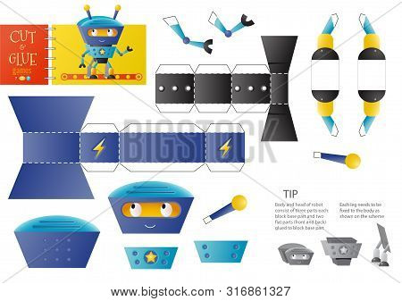 Cut and glue robot toy vector illustration, worksheet. Paper craft and small pieces riddle with funny robotic character for kindergarten kids. Cutting activity for children poster