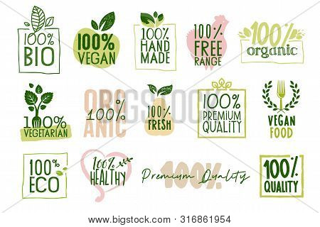 Organic Food, Farm Fresh And Natural Products Labels And Badges Collection. Vector Illustration For