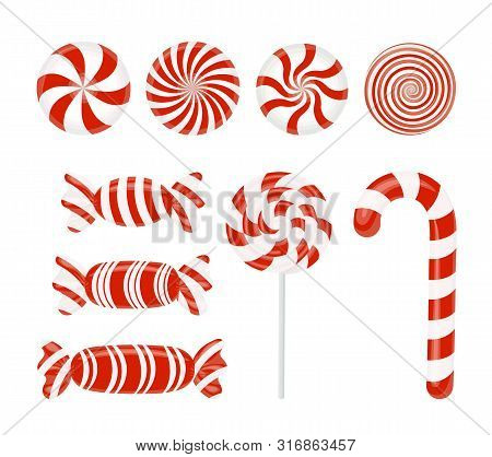 Red Candy Set. Caramel, Lollipop, Lollipop. Candy Wrapper. Striped Candy Without Wrapper On White. V