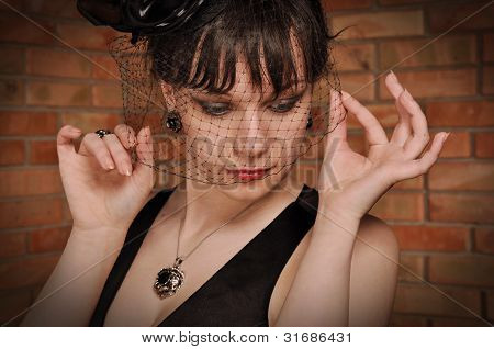 Lady in black dress