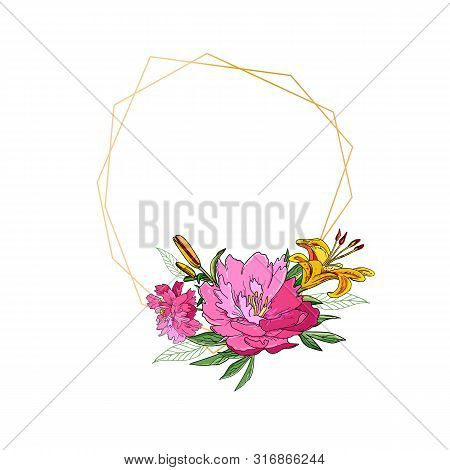 Floral Geometric Vector Design Frame With Peony Flowers And Lily. Botanical Art.