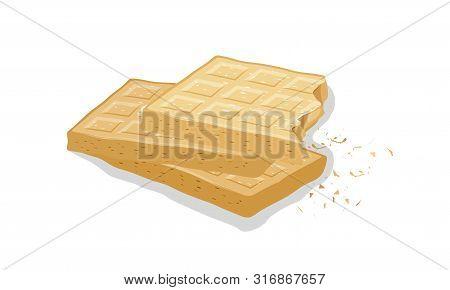 Vanilla Wafers. Wheaten Brussels Waffles, Sweet Gaufres. Pastry, Baking, Dessert. Cartoon Vector Ill