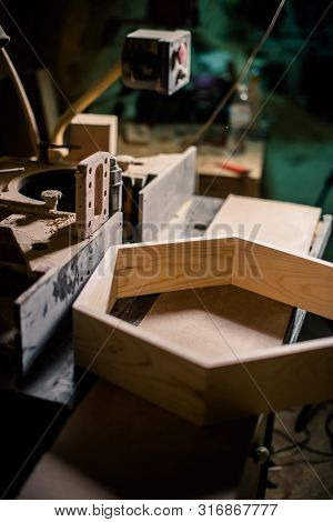 Wooden Details And Tools In Carpentry Workshop Interior