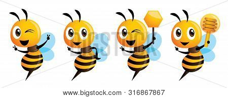 Cartoon Cute Bee Mascot Series. Cartoon Cute Bee Pointing. Cute Bee Holding Honeycomb. Cute Bee Hold