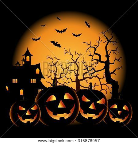 Ghostly Halloween Poster With Grinning Pumpkins Template Vector Eps 10