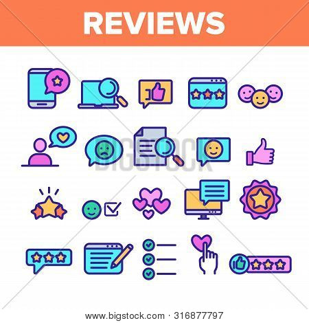 Color Reviews Thin Line Icons Set Vector. Reviews, Feedback And User Experience Of Client Linear Pic