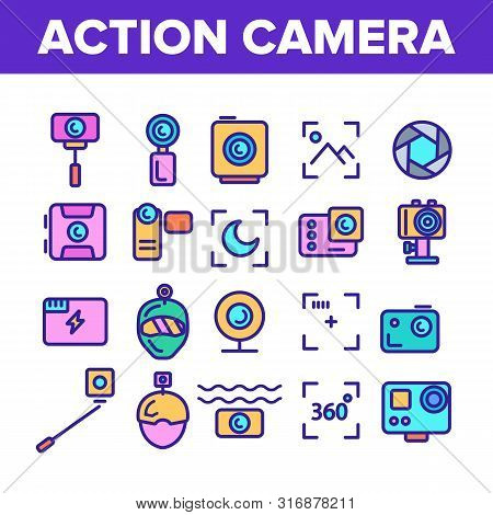Color Action Camera Sign Icons Set Vector Thin Line. Types Of Camera Linear Pictograms. Device Stick