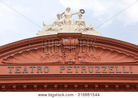 Bari, Italy - July 28, 2019: Detail Of The Facade Of Teatro Petruzzelli Opera And Ballet Theater. Th