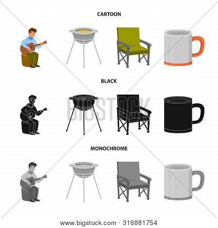 Vector Illustration Of Cookout And Wildlife Symbol. Collection Of Cookout And Rest Vector Icon For S
