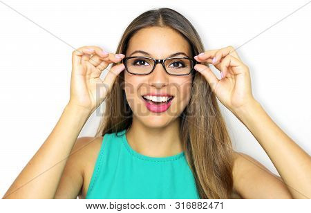 Eyewear Glasses Woman Portrait. Smiling Young Woman Wearing Glasses And Holding Frame. Beautiful Fem