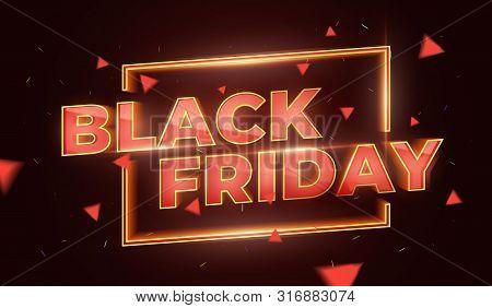 Black Friday Sale Promotion Poster Or Banner. Social Media Banner Design Template. 3d Inscription Wi
