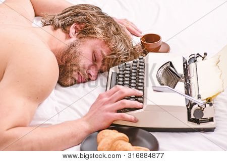 Worked All Night. Man Fall Asleep. Writer Used Old Fashioned Typewriter. Author Tousled Hair Fall As