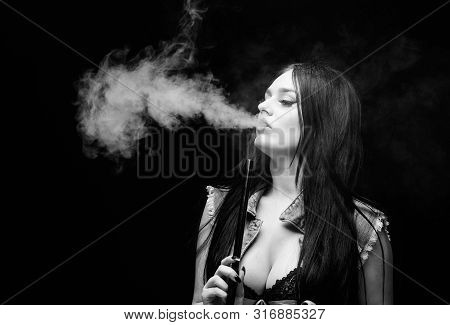 Fashion Girl Vaping. Relaxing With Hookah. White Cloud Of Smoke. Vaping Is Sexy. Nicotine Addiction.