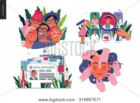 Set Of Medical Insurance Illustrations -opticians Shop, Find A Doctor, Medical Id, Health Card, Cosm