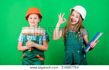 Initiative children provide renovation their room green background. Amateur renovation. Dreaming about new playroom. Home improvement activities. Future profession. Kids girls planning renovation poster