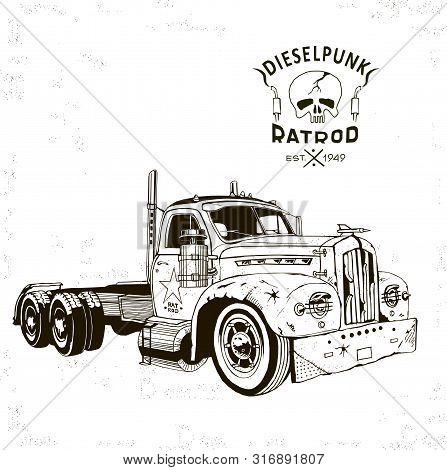 Diesel Punk Hot Rod Truck2, Isolated, Vector Arts, Kustom Kulture, Post Apocalypse Zombie War