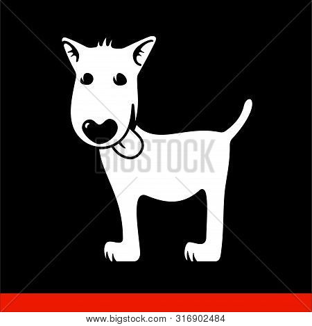 poster of cartoon pooch on black background. Under pencil drawing