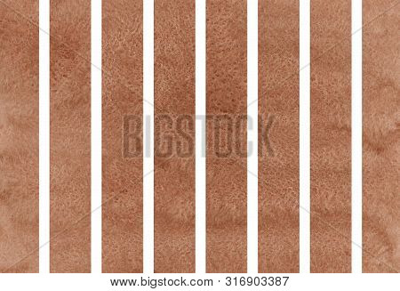 Watercolor Brown Striped Background. Watercolor Geometric Pattern.