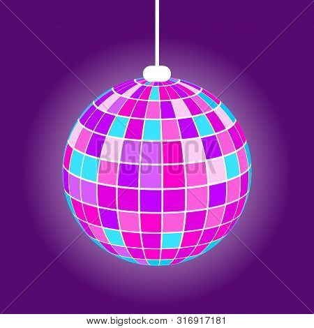 Discoball With Rays From Square, Hanging Purple Mirrorball With Light. Element Of Night Club Or Part