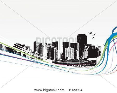 Big City - Grunge styled urban background. Vector illustration. poster