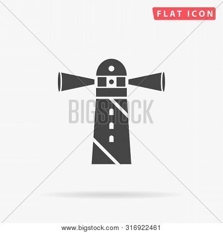 Lighthouse, House, Light, Beach, Ocean. Flat Design Style Minimal Vector Illustration Icon For Web D