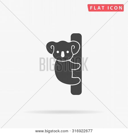 Cute Koala On A Tree. Australian Bear. Flat Design Style Minimal Vector Illustration Icon For Web De