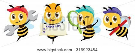 Cartoon Cute Bee Mascot Set. Cartoon Cute Bee Holding A Spanner, Holding A Signage, Holding A Magnif