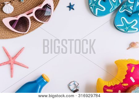 Travel Accessories Items On White Background, Summer Vacation Concept