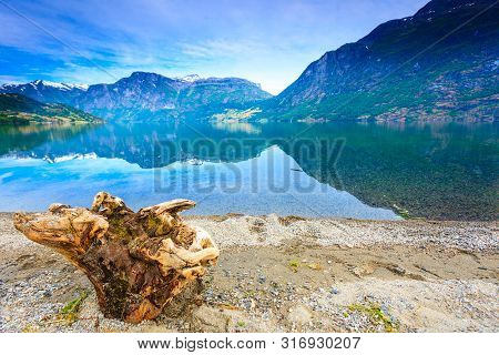Tourism Vacation And Travel. Mountains Landscape And Lake Oppstrynsvatnet In Jostedalsbreen National