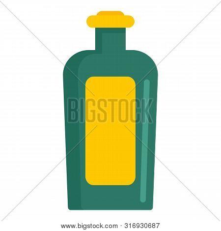 Balsam Glass Bottle Icon. Flat Illustration Of Balsam Glass Bottle Vector Icon For Web Design