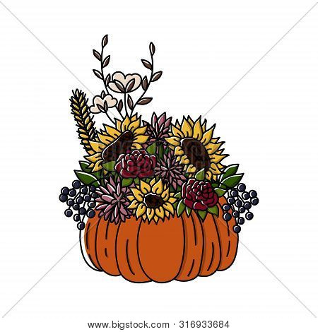 Thanksgiving Hand Drawn Doodle Stylew Pumpkin And Autumn Flowers Centerpiece. Agonis And Willow Euca