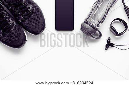 Fit Health Lifestyle And Weight Lose Diet Background Concept. Fitness Equipment Running Shoes,water