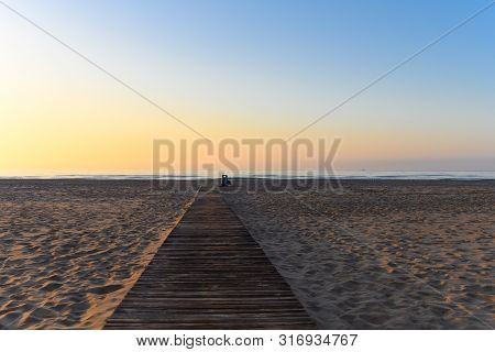 Sunerise At The Beach In Cullera, Spain, Stock Picture