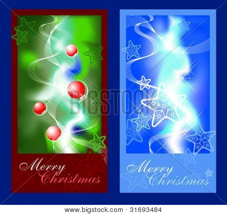 2 Christmas greeting cards. Vector illustration.