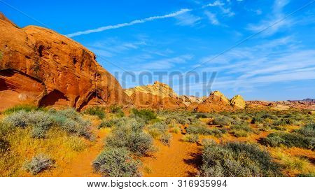 Colorful Sandstone Mountains At Sunrise On The Rainbow Vista Trail In The Valley Of Fire State Park