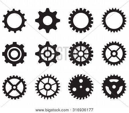 Gear Wheels Icon On White Background. Flat Style. Gear Icon For Your Web Site Design, Logo, App, Ui.