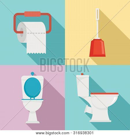 Toilet Icons Set. Flat Set Of Toilet Vector Icons For Web Design