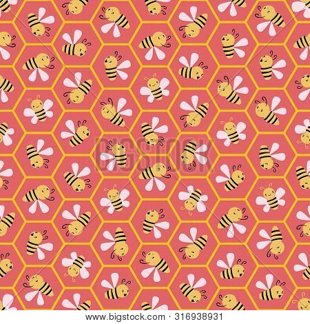 Cute Cartoon Honey Bees In Honeycomb Cells. Seamless Geometric Vector Pattern On Coral Pink Backgrou