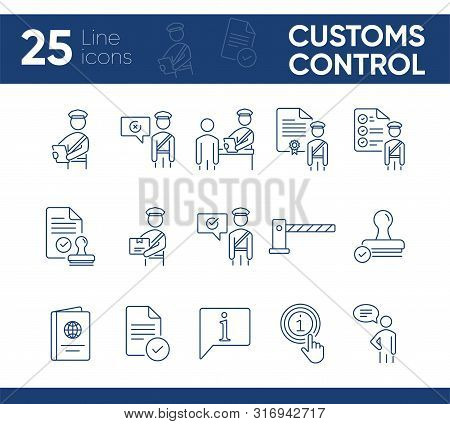 Customs Control Icons. Set Of Line Icons. Faqs, Passport, Customs Check, Customs Inspection. Immigra