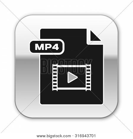 Black Mp4 File Document. Download Mp4 Button Icon Isolated On White Background. Mp4 File Symbol. Sil