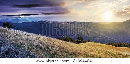 Beautiful Mountain Landscape Time Change Concept. Wonderful Summer Panorama With Sun And Moon. Beech