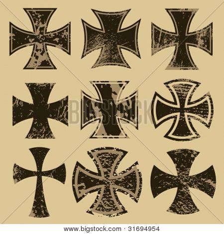 Distressed crosses set. Choppers cross.