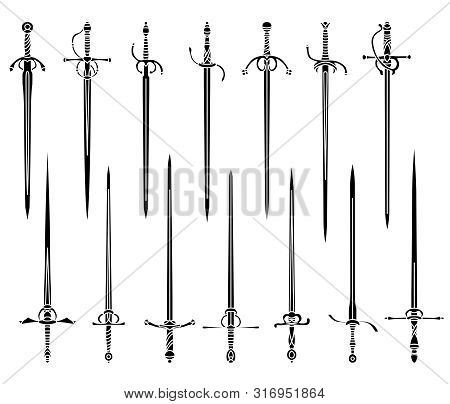 Set Of Simple Monochrome Vector Images Of Rapiers And Epees.