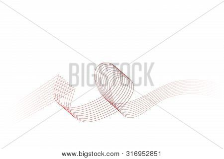 Vector, Abstact Gradual Red And White To Transparent 8 Wave Line For Element Design Of Certificate,