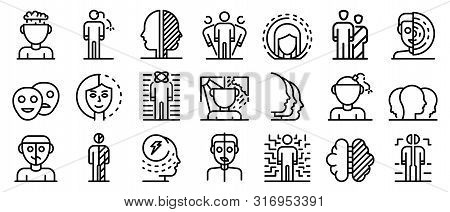 Bipolar Disorder Icons Set. Outline Set Of Bipolar Disorder Vector Icons For Web Design Isolated On