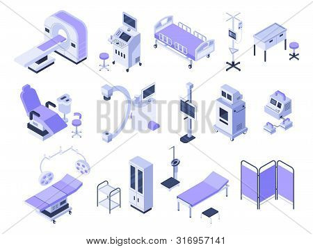Isometric Hospital Tools. Medical Diagnostic Equipment, Healthcare Monitoring And Health Care Diagno