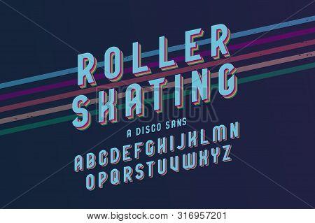Vintage Roller Skating Font With Blue Elegant Letters And Colorful Slanted Lines Vector Illustration